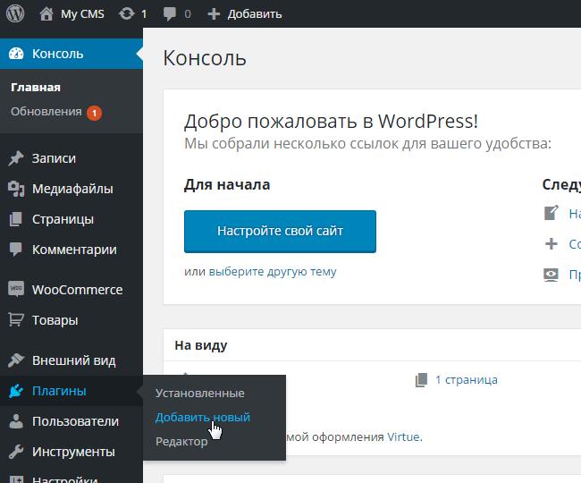 Установка плагина на WordPress